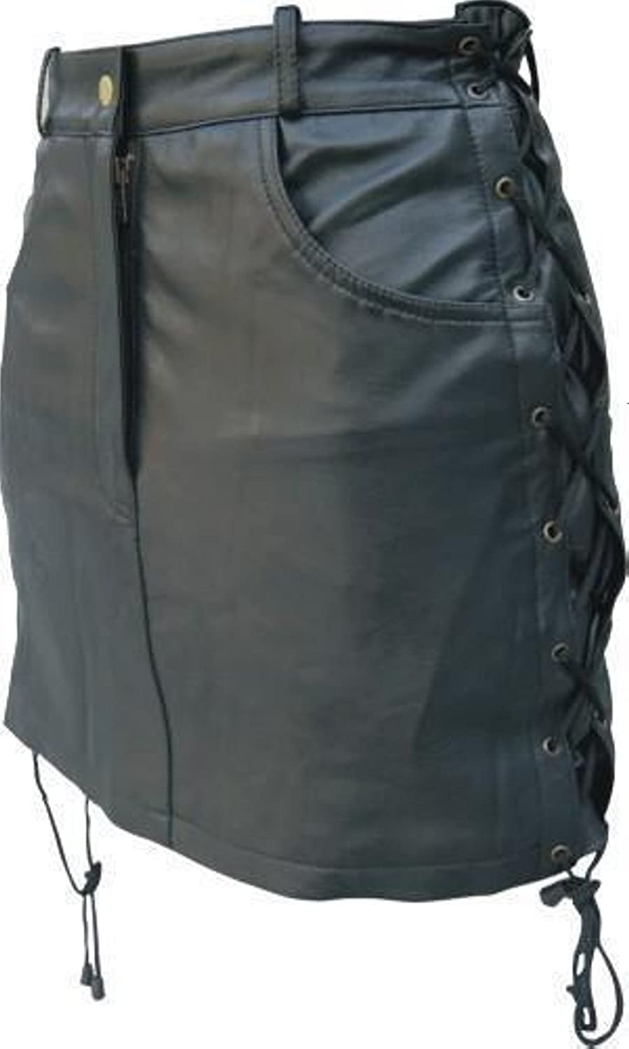 Genuine Real Solid Ladies Black Leather Skirt with Side Laces Biker Motorcyle Lady Rider's Very Sexy