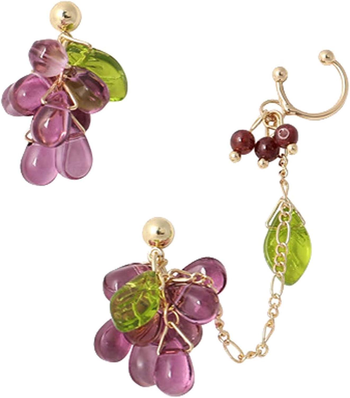 Chic Creative Fruits Ear Cuff Crawler Earrings for Women Girls Climber Gold Tone Chain Rhinestone Grape Dainty Green Leaf Dangle Drop Cartilage Studs Cuffs Ears Wrap Clip on Earring Jewelry