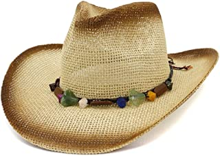 SHENTIANWEI Western Spray Paint Straw Cowboy Hat Female Outdoor Travel Seaside Beach Hat Sun Hat Protection Hat Color Stone Pendant Hat