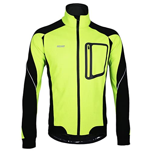 3714e10bbe1 iCreat Mens Cycling Jacket Windproof Breathable Lightweight High Visibility Warm  Thermal Long Sleeve Jacket MTB Mountain