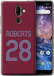 Personalized Custom Soccer Club Jersey Shirt Kit Case for Nokia 7 Plus 2018 / Claret Blue Design/Initial/Name/Text DIY Cover