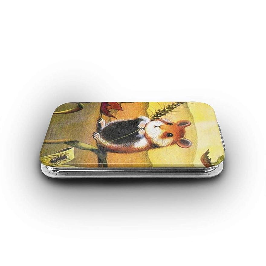 金属軍ライブ手鏡 モルモット 携帯ミラー 化粧鏡 ミニ化粧鏡 3倍拡大鏡+等倍鏡 両面化粧鏡 角型 携帯型 折り畳み式 コンパクト鏡 外出に 持ち運び便利 超軽量 おしゃれ 9.8X6.6CM