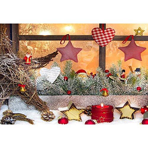 Fondos de Navidad para Fiestas Familiares, Invierno, Nieve, árbol, Papá Noel, Piso de Madera, Fondos para niños, sesión fotográfica para Estudio fotográfico A11, 5x3ft / 1.5x1m