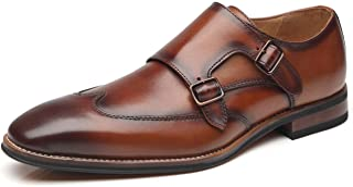 La Milano Men's Double Monk Strap Slip on Loafer Leather Oxford Business Dress Shoes