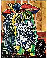 パブロピカソ女性抽象キャンバスアート絵画ポスターとプリントキャンバスウォールアートリビングルームの装飾ギフト-50X70Cmフレームレス