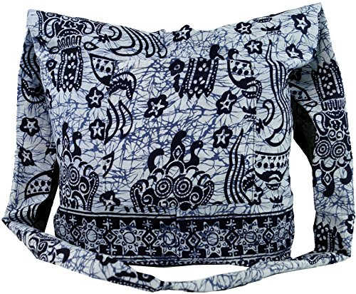 GURU SHOP Sadhu Bag, Schulterbeutel, Hippie Tasche - Blau, Herren/Damen, Baumwolle, Size:One Size, 30x32x10 cm, Alternative Umhängetasche, Handtasche aus Stoff