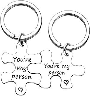 AMOR SPES 2pcs Valentine Gifts Couples Key Chain Set Friendship Gifts - You are My Person