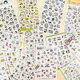 BLOUR Juego de Pegatinas de PVC de Dibujos Animados de 17 Estilos, Pegatinas Adhesivas Decorativas, decoración DIY,...