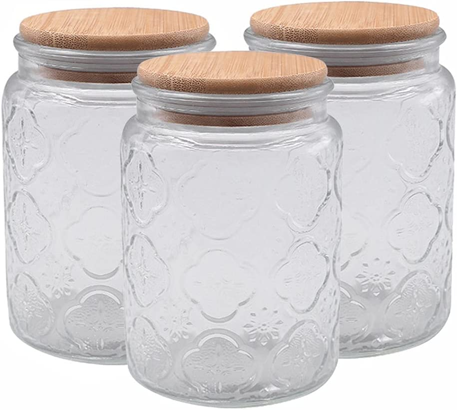 YHYH Jars Canister Set 1 3PC Can Food Discount is also underway Glass Clear Excellent Stackable