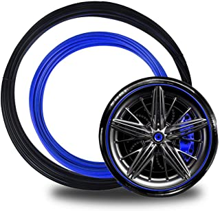 Genleas Tesla Model 3 Wheel Bands Kit Rim Protection, Auto Wheel Bands Pinstripe Rim Edge Trim (Set of 4) (Blue in Black Track)