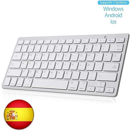 SENGBIRCH Teclado Bluetooth Español, Light Teclado Inalámbrico Portátil para iPhone de iOS, iPad, Samsung, Huawei, Android, Windows y Cualquier ...