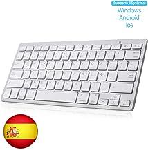 SENGBIRCH Teclado Bluetooth Español, Light Teclado Inalámbrico Portátil para iPhone de iOS, iPad, Samsung, Huawei, Android, Windows y Cualquier Dispositivo con Bluetooth, Teclado Bluetooth (Blanco)