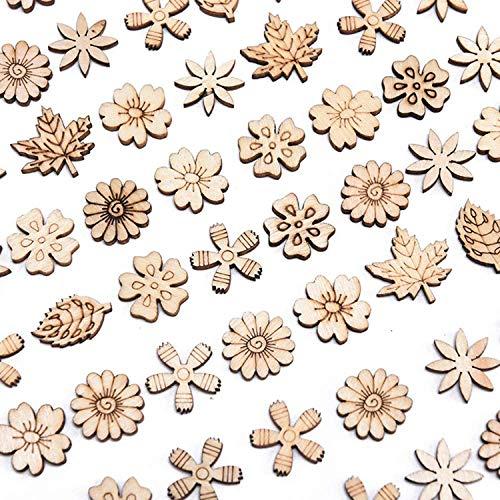 200 decorazioni in legno con foglie di fiori, forme assortite in legno, per lavori di bricolage, découpage, decorazioni fai da te per scrapbooking, biglietti, decorazioni in legno