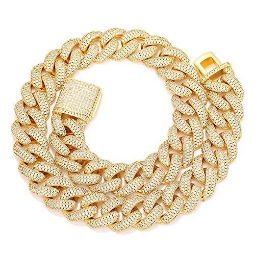 Collares Collares de hip hop para hombres, broche de 20 mm de ancho, ajuste de piedra de hielo redonda cubana, cadena de eslabones de Miami, joyería de rapero, pulsera de oro de 8 pulgadas