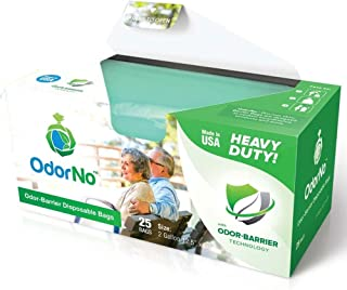 OdorNo Heavy Duty Disposal Bags, 2 Gallon, Case of 250 Bags (10 Box of 25 Bags)