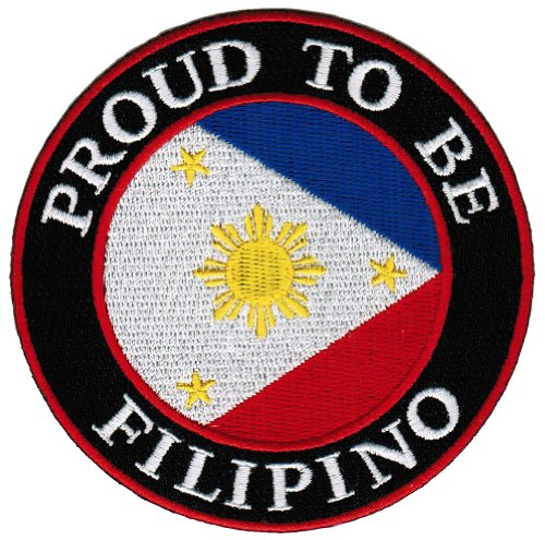 Proud To Be Filipino Embroidered Patch Philippines Flag Pinoy Iron-On Biker Emblem