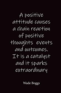 A positive attitude causes a chain reaction of positive thoughts events and outcomes. It is a catalyst and it sparks extra...