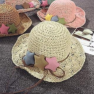 DUOLUO 子供たち麦わら帽子夏ビーチ帽子女の子大きなバイザー休日赤ちゃん帽子日焼け防止太陽帽子折りたたみ