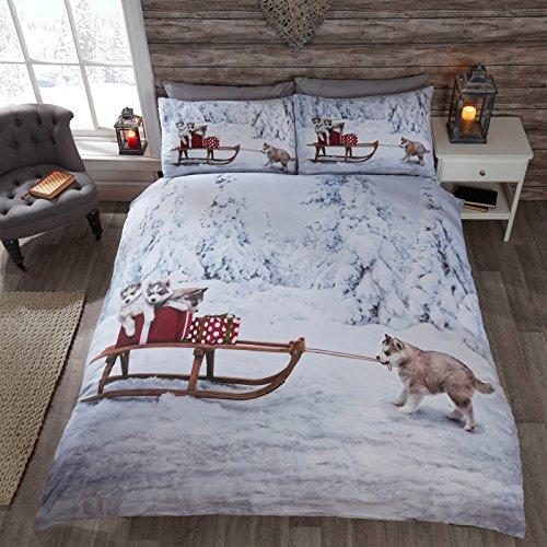 Just Contempo Christmas Husky Dogs Duvet Cover Set, Huskies, King