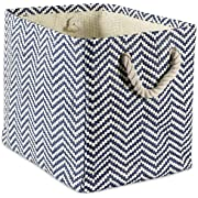 """DII Oversize Woven Paper Storage Basket or Bin, Collapsible & Convenient Home Organization Solution for Office, Bedroom, Closet, Toys, Laundry(Medium - 15x10x12""""), Black & White Basketweave"""
