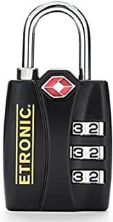 ETRONIC T6 TSA-Approved Lock TSA Open Alert Indicator Resettable Combination TSA-Accepted Luggage Lock, 1-3/16in (30mm) Wide (4 Pack)