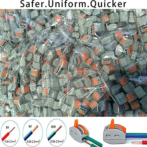 Lever-Nut,Wire Connector,Assortment Pack Conductor Compact Wire Connectors, (PCT-212(40 PCS) PCT-213(40 PCS) PCT-214(20 PCS) PCT-215(20 PCS) 120PCS)