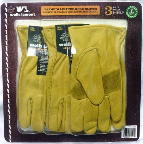 Wells Lamont Premium Leather Work Gloves Precurved Design 3 Pack Large by Wells Lamont