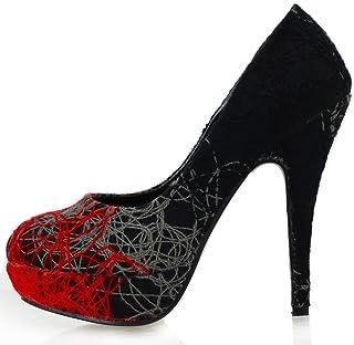 SHOW STORY Womens Abstract Lines Print Stiletto Platform High Heel Pumps,LF30435