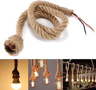 Lámpara colgante industrial 1M cuerda de cáñamo ligera vintage E27 cuerda de luces colgantes para comedor, sala de estar, restaurante, bar, cafetería