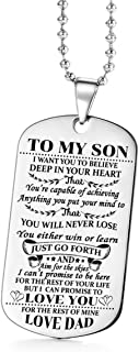 (dad to Son) - AISHOW Dad Mom to Son Dog Tag Boys Teen I Want You to Believe Deep in Your Heart Inspirational Message Pend...