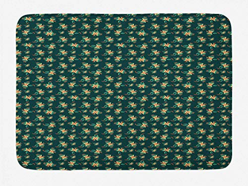 Kites Bath Mat, Ornamental Kites Background Air Toy Hovering in Wind Illustration, Plush Bathroom Decor Mat with Non Slip Backing, Hunter Green Pale Yellow Coral