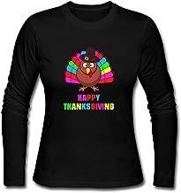 Colorful Happy Thanksgiving Women's Long Sleeve Cotton Crewneck T-Shirt