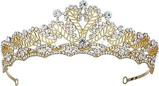 LUCKYYY Fascia da Sposa Corona Fatta a Mano Vintage Corona da Sposa