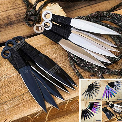 Tactical Knife Survival Knife Hunting Knife 12 PIECE Throwing Knives Set Fixed Blade Knife Razor Sharp Edge Camping Accessories Camping Gear Survival Kit Survival Gear 74625 (Black Kunai)