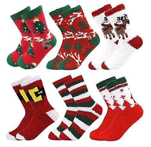 6 Pack Women Christmas Socks Winter Warm Cozy Socks For...