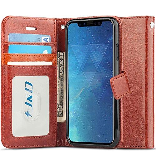 J&D Compatibile per Cover iPhone X, [RFID Blocco Portafoglio] [Sottile Adatta] Protettiva Robusta Antiurta Flip Custodia per iPhone X - Marrone