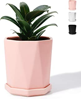 Potey Geometric Ceramic Plant Pot Pink - 4.8 Inch Planter for Indoor Plants Flower Succulent with Drainage Hole & Saucer(Plant NOT Included)