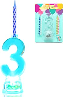 Novelty Place Multicolor Flashing Number Candle Set, Color Changing LED Birthday Cake Topper with 4 Wax Candles (Number 3)