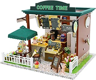 Dolity Cute DIY Wooden Dollhouse Miniature Coffee House Shop Model LED Light Furniture Kits Birthday Wedding Gifts