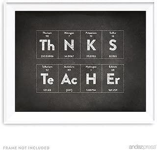 Andaz Press Periodic Table of Elements Wall Art Decor, Vintage Chalkboard Print, 8.5x11-inch, Thanks Teacher, Back to School Science Chemistry Physics Teacher's Appreciation Graduation Gift, Unframed