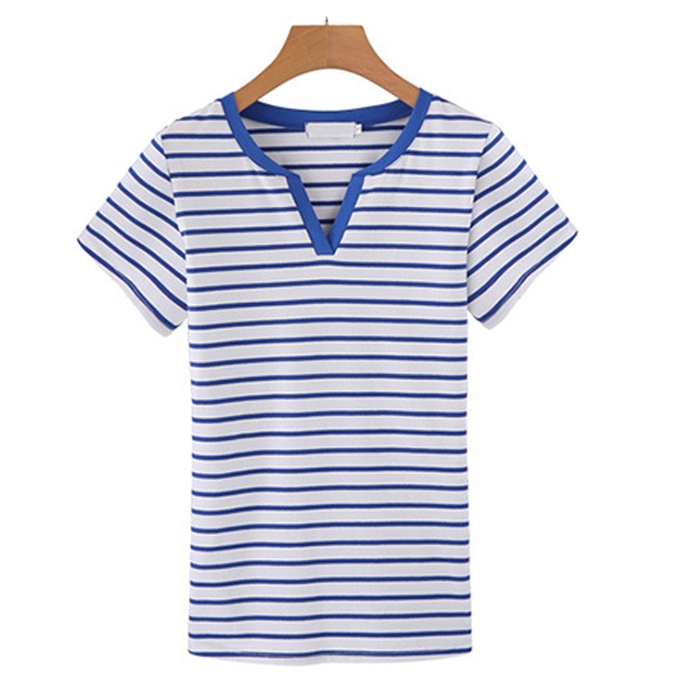 [美しいです] レディース 春 夏 Tシャツ ショット丈 ストライプ 半袖 ゆったり 上着 スリム ブラウス コットン