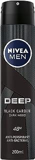 NIVEA Men Deep Black Carbon Dark Wood, Antiperspirant & Antibacterial Spray -200ml