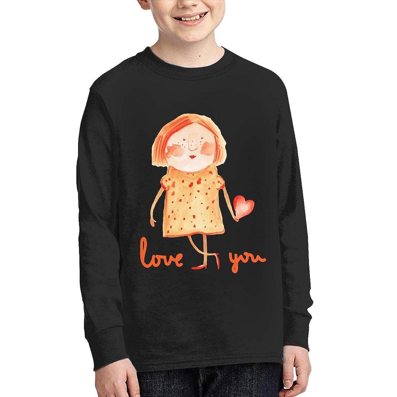 学生 男女兼用 ボーイズ 長袖 Tシャツ 女 子 心 愛 ロングスリーブ Oネック ティー シャツ Black