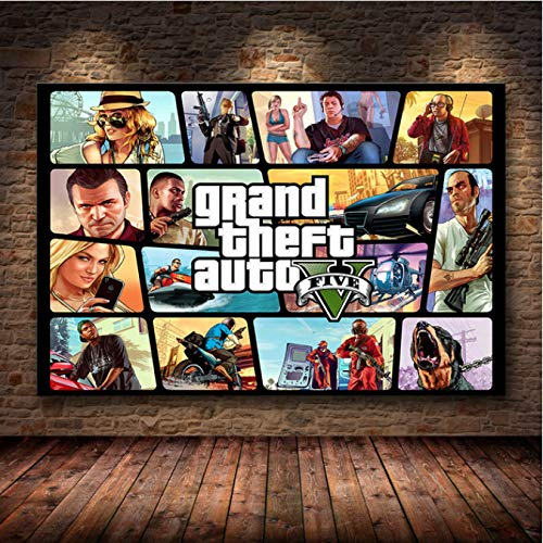 Game Poster Grand Theft Auto V Game Poster GTA 5 Canvas Art Print Painting Room Decoration Home Decoration Frameless Painting 50X70Cm (M:0856)
