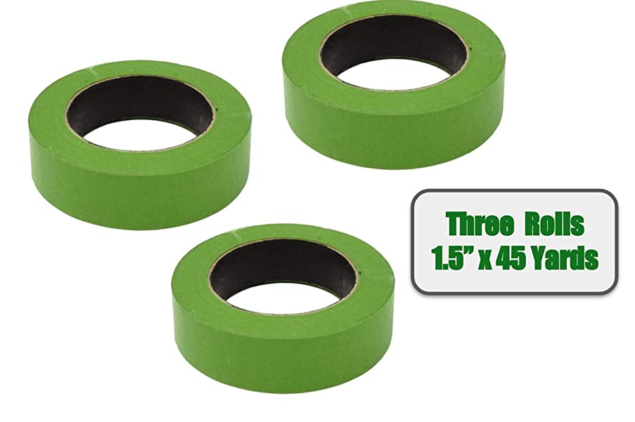 3 Rolls Painter's Tape (1.5 in x 45 Yards); Color: Frog Green, Made in USA (135 Yards Total) - Masking Multi Use Safe Release