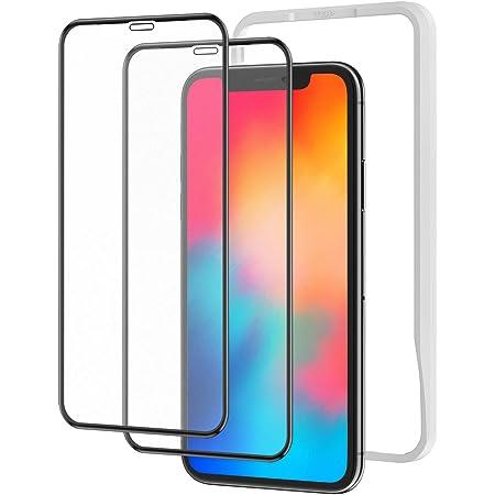 アンチグレア 2枚セット Nimaso 強化ガラス全面保護フィルム iPhone 11 Pro/Xs/X用 サラサラタッチ感/反射低減/ガイド枠付き フルカバー