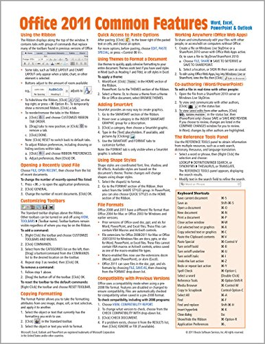 Office 2011 for Mac: Common Features Quick Reference Guide (Cheat Sheet of Instructions, Tips & Shortcuts - Laminated Card)