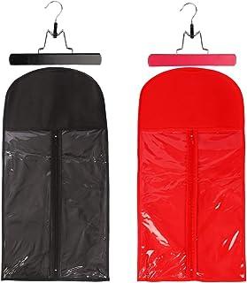 2 Piece Hair Extension Storage Bag Hair Extension Hanger Dust-proof Wig Holder Case Portable Zipper Wig Storage Bag Non-wo...