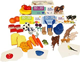 Stages Learning Materials Language Builder 3D- 2D Noun Flash Cards and Realistic Toy Figures Vocabulary Autism Learning Products for ABA Therapy and Speech Articulation