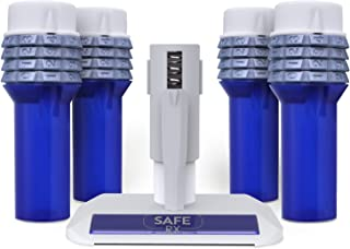 Safe Rx Locking Pill Bottle | Set Your Own Code Combination Lock | Prevent Pill Theft, Secure Medication | Certified Child-Resistant, Senior-Friendly | 4.5″ x 1.5″ Bottles (4-Pack Blue + Encoder)